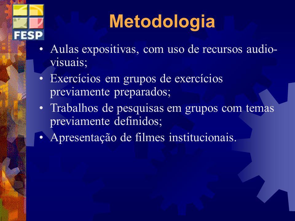 Metodologia Aulas expositivas, com uso de recursos audio-visuais;