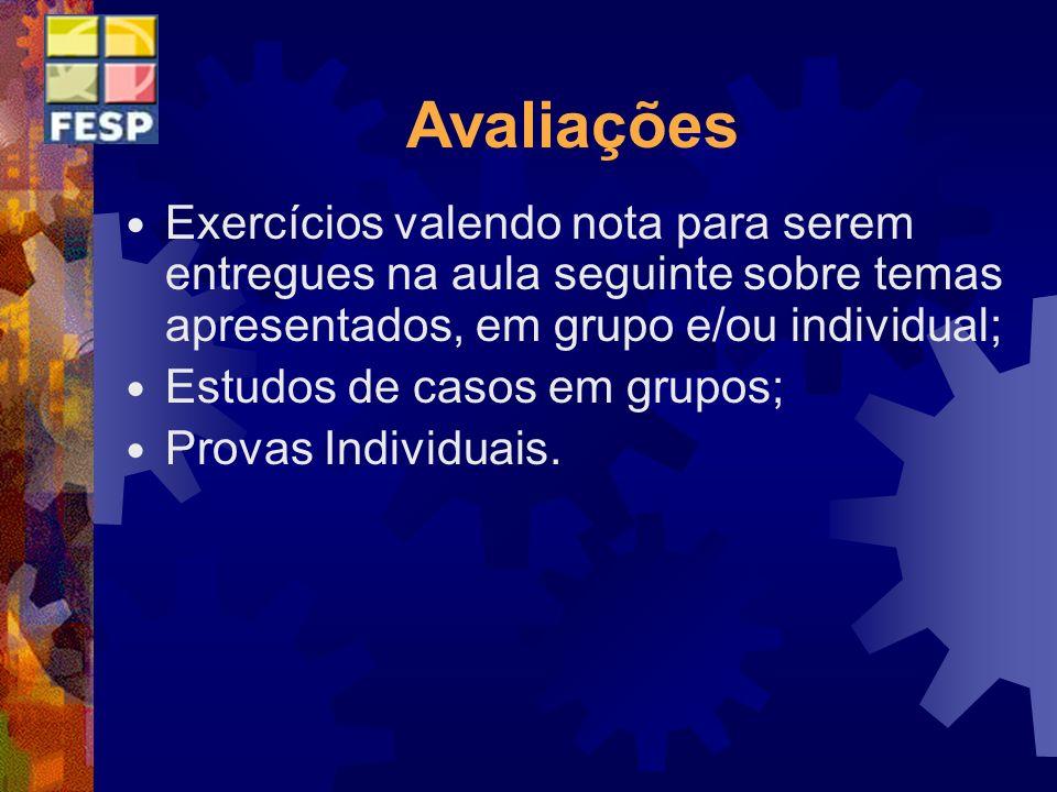 Avaliações Exercícios valendo nota para serem entregues na aula seguinte sobre temas apresentados, em grupo e/ou individual;