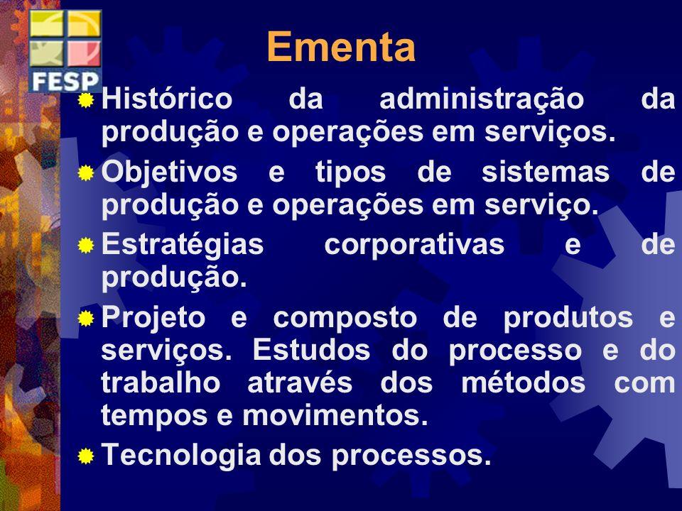 Ementa Histórico da administração da produção e operações em serviços.