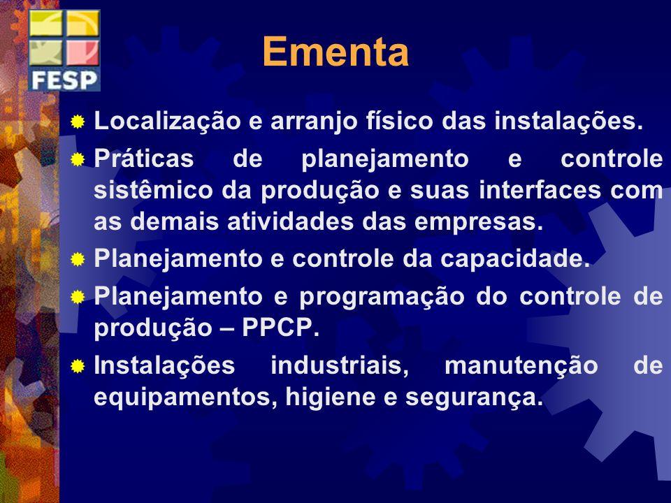Ementa Localização e arranjo físico das instalações.
