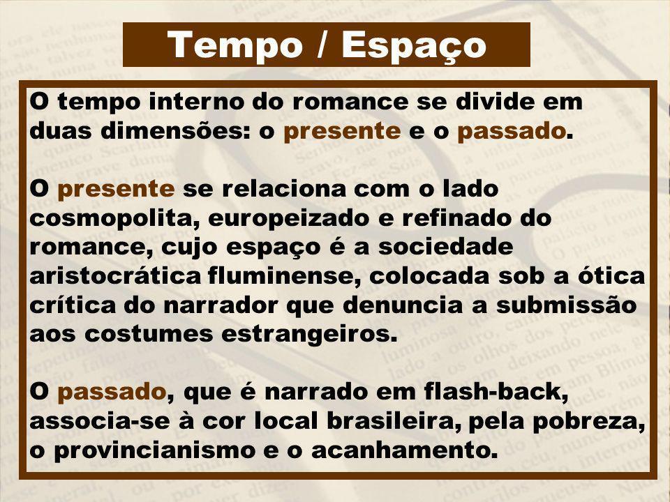 Tempo / Espaço O tempo interno do romance se divide em duas dimensões: o presente e o passado.