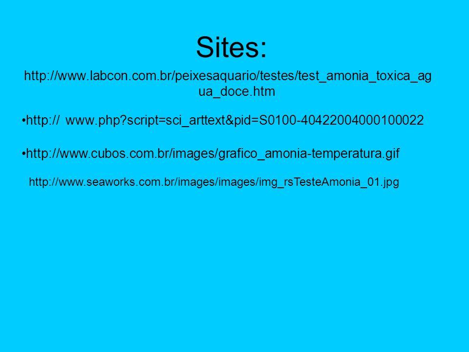 Sites: http://www.labcon.com.br/peixesaquario/testes/test_amonia_toxica_agua_doce.htm. http://