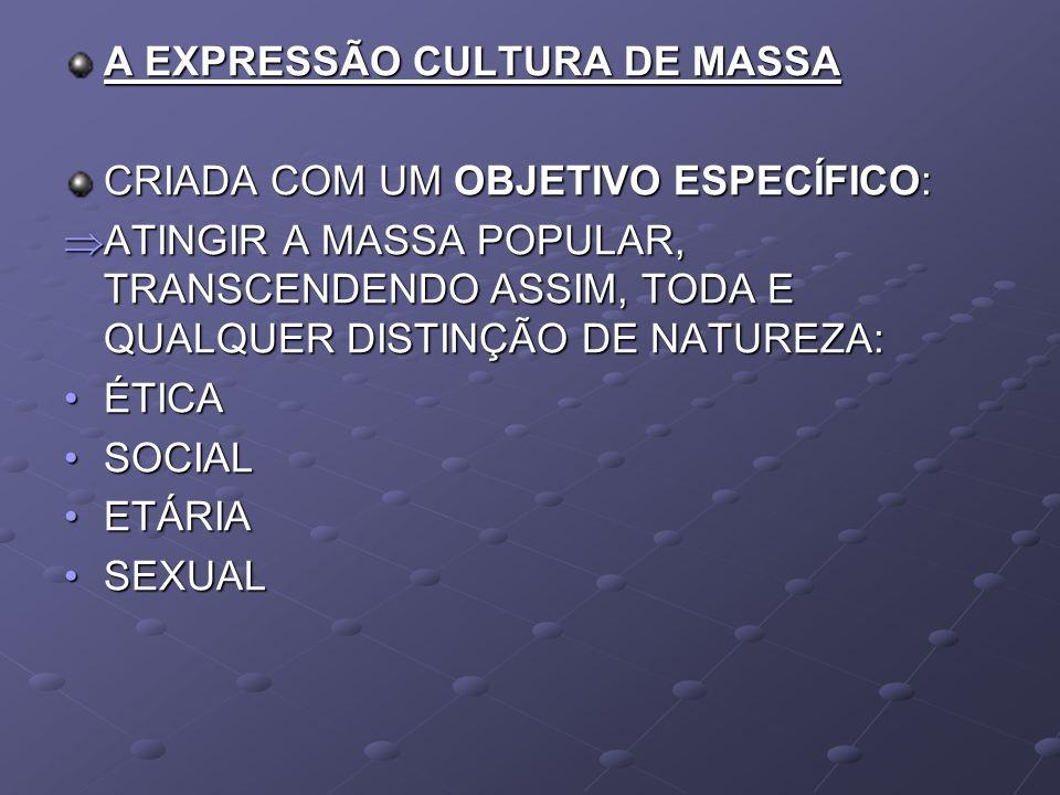 A EXPRESSÃO CULTURA DE MASSA