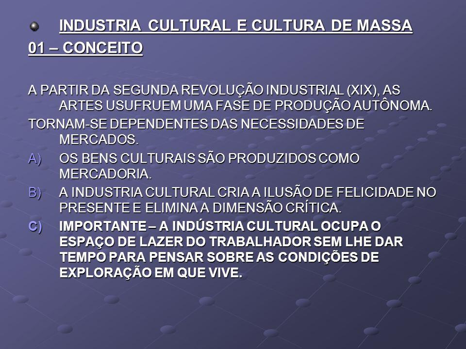 INDUSTRIA CULTURAL E CULTURA DE MASSA 01 – CONCEITO