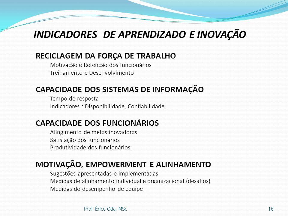 INDICADORES DE APRENDIZADO E INOVAÇÃO
