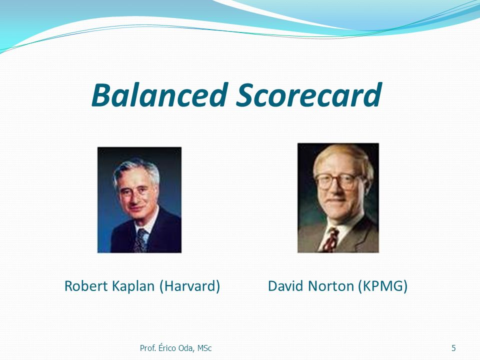 Balanced Scorecard Robert Kaplan (Harvard) David Norton (KPMG)