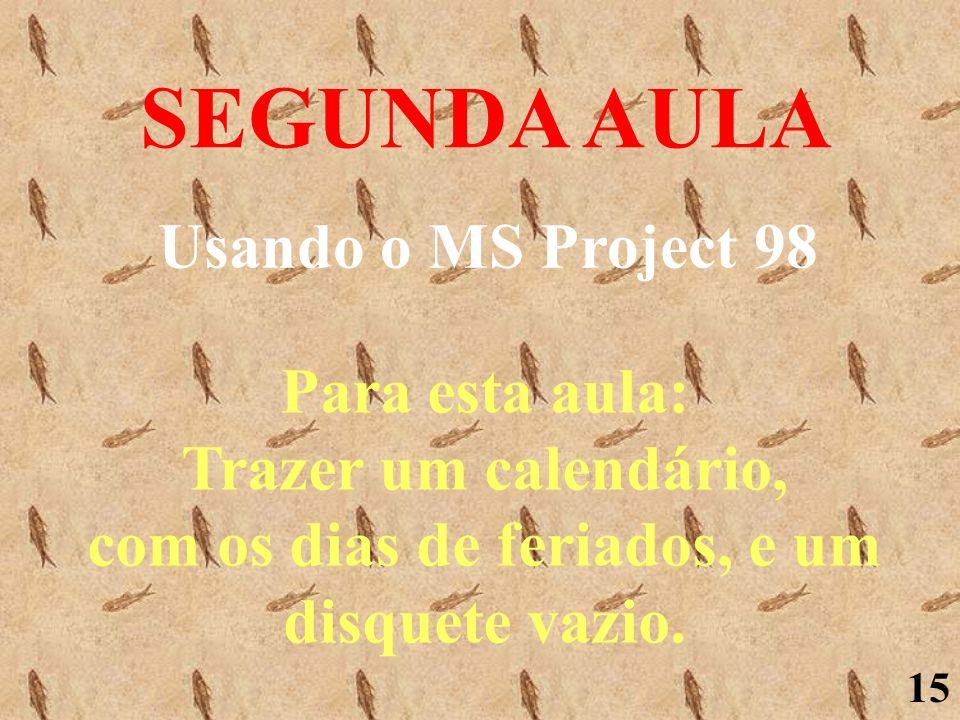 SEGUNDA AULA Usando o MS Project 98