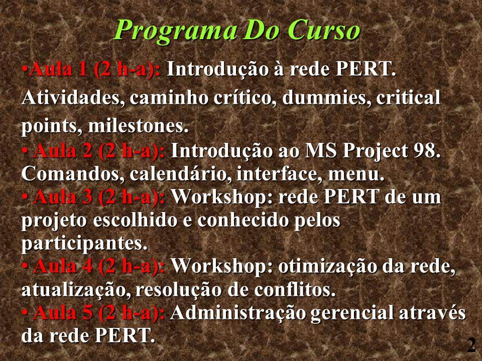 Programa Do Curso Aula 1 (2 h-a): Introdução à rede PERT. Atividades, caminho crítico, dummies, critical points, milestones.