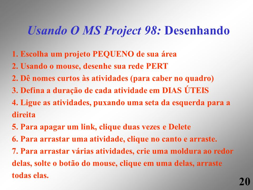 Usando O MS Project 98: Desenhando