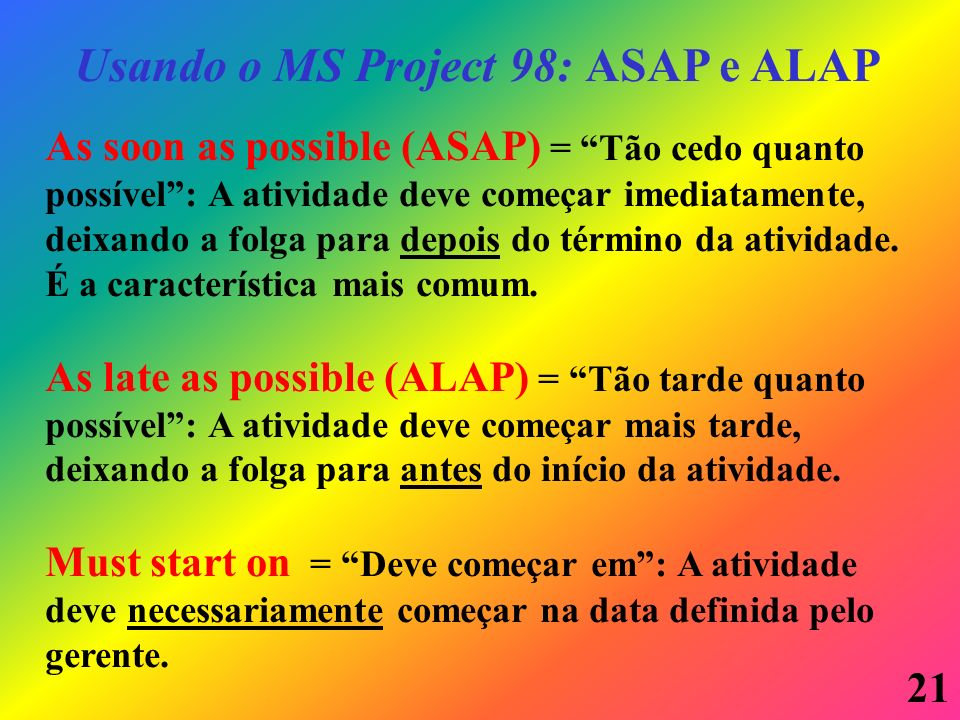 Usando o MS Project 98: ASAP e ALAP
