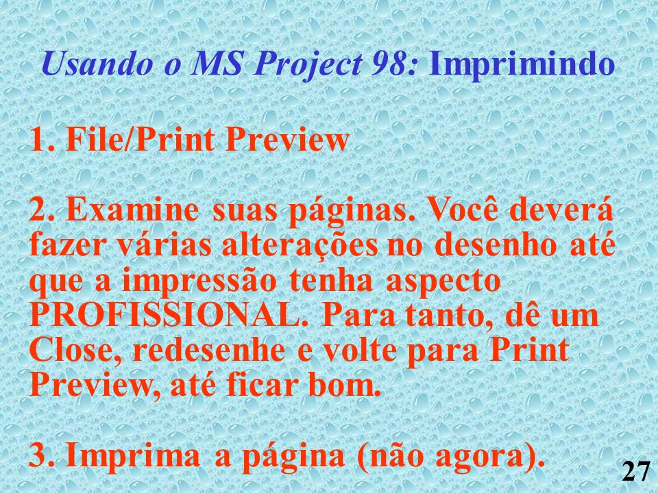 Usando o MS Project 98: Imprimindo