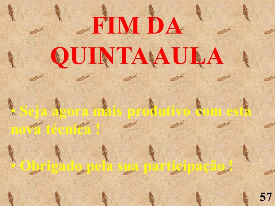 FIM DA QUINTA AULA Seja agora mais produtivo com esta nova técnica !