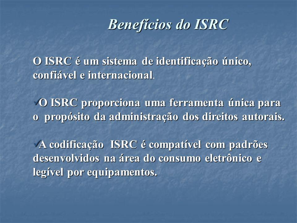 Benefícios do ISRCO ISRC é um sistema de identificação único, confiável e internacional.