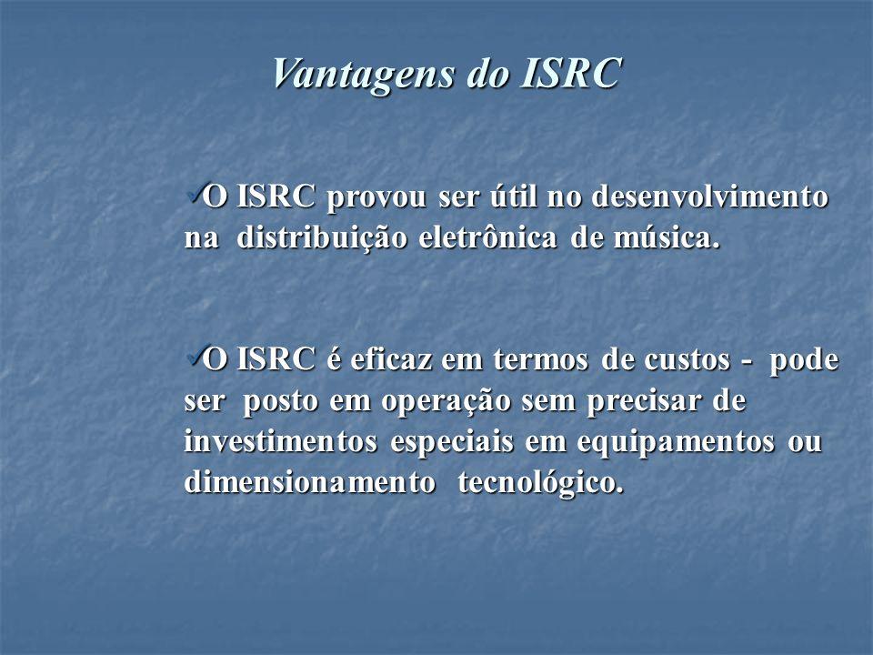 Vantagens do ISRC O ISRC provou ser útil no desenvolvimento na distribuição eletrônica de música.
