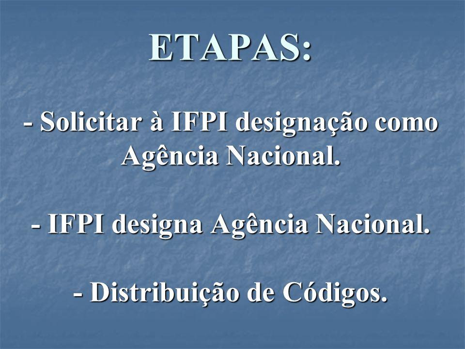 ETAPAS: - Solicitar à IFPI designação como Agência Nacional