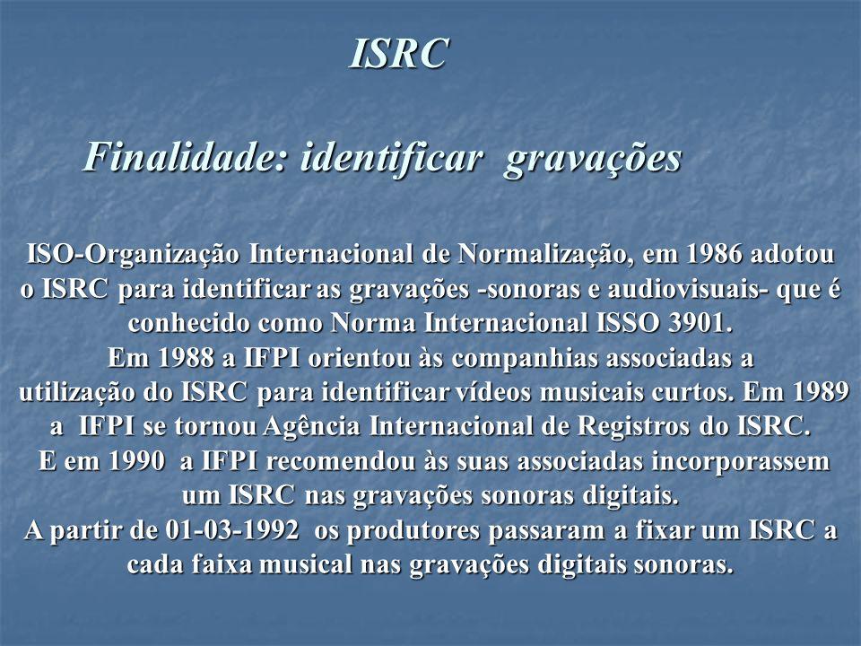 ISRC Finalidade: identificar gravações