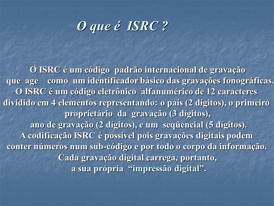 O que é ISRC O ISRC é um código padrão internacional de gravação