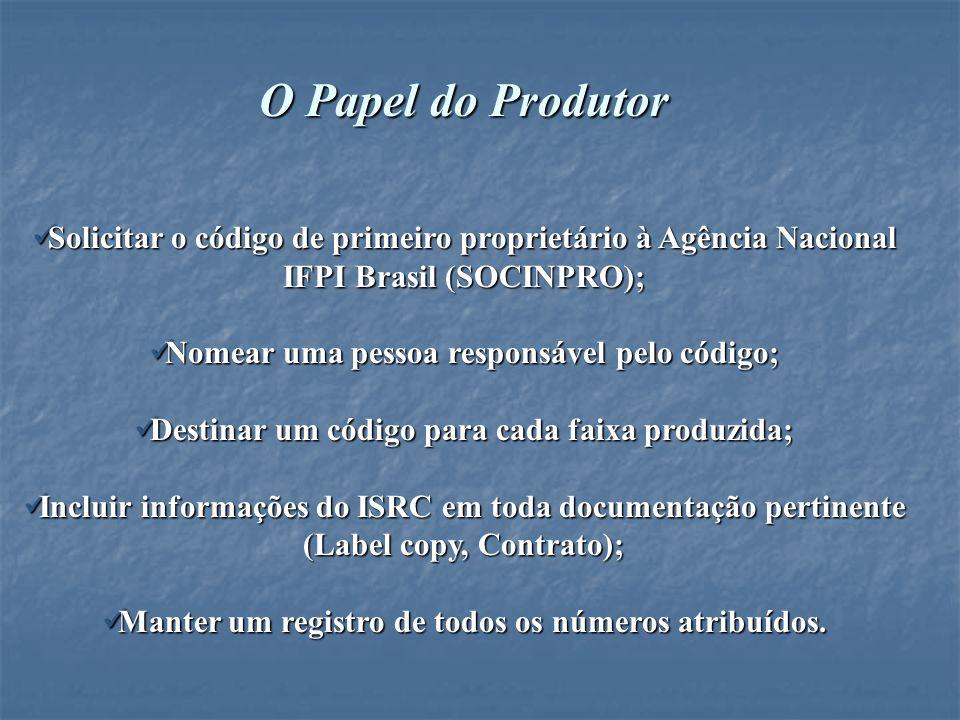 O Papel do Produtor Solicitar o código de primeiro proprietário à Agência Nacional IFPI Brasil (SOCINPRO);