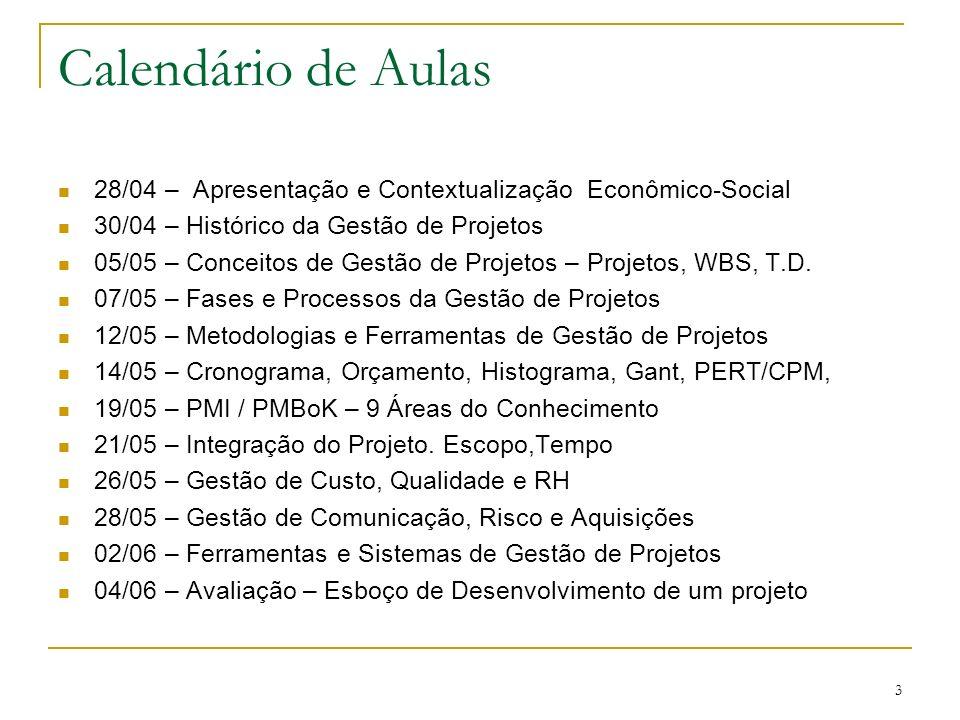 Calendário de Aulas 28/04 – Apresentação e Contextualização Econômico-Social. 30/04 – Histórico da Gestão de Projetos.