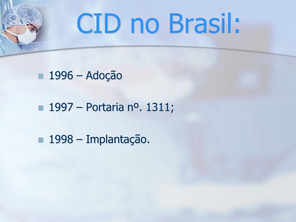 CID no Brasil: 1996 – Adoção 1997 – Portaria nº. 1311;