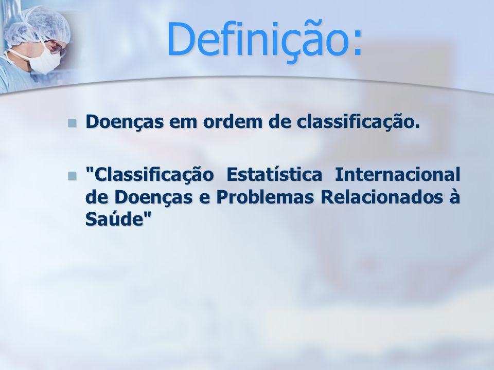 Definição: Doenças em ordem de classificação.