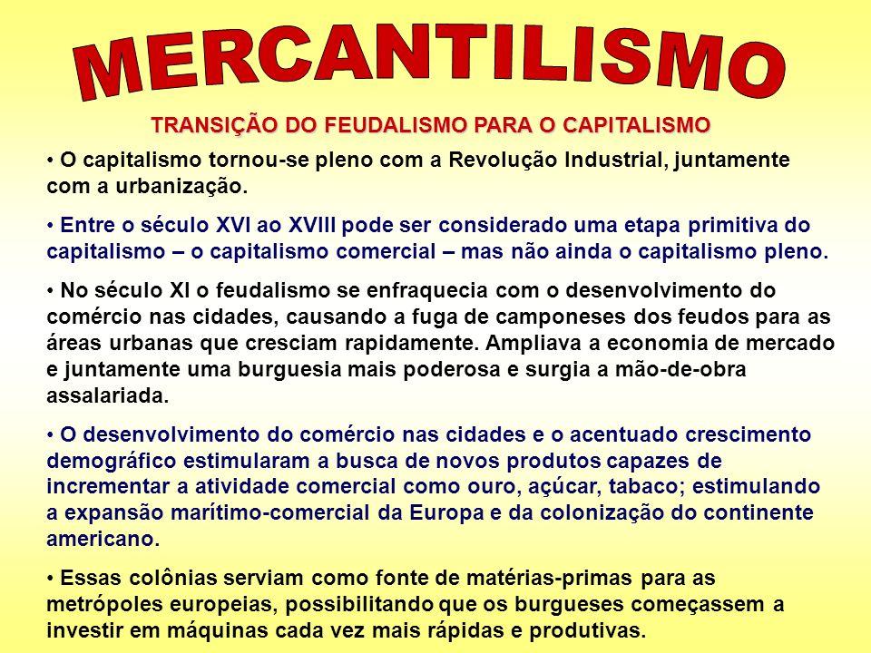 MERCANTILISMO TRANSIÇÃO DO FEUDALISMO PARA O CAPITALISMO