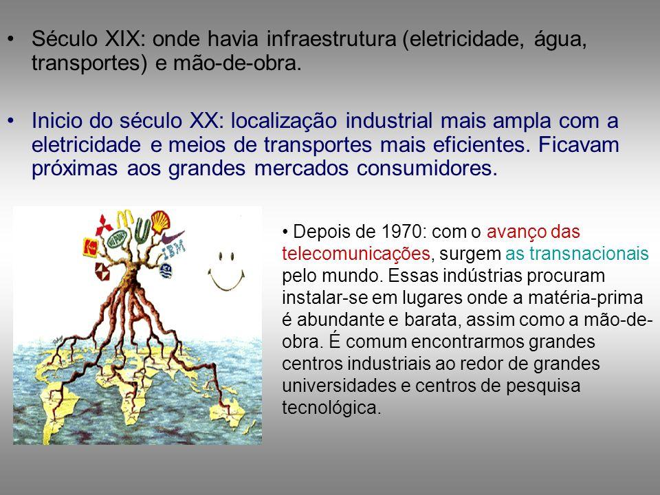 Século XIX: onde havia infraestrutura (eletricidade, água, transportes) e mão-de-obra.