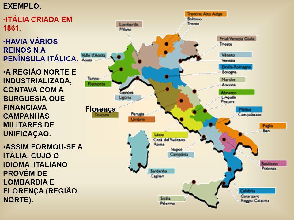 EXEMPLO: ITÁLIA CRIADA EM 1861. HAVIA VÁRIOS REINOS N A PENÍNSULA ITÁLICA.