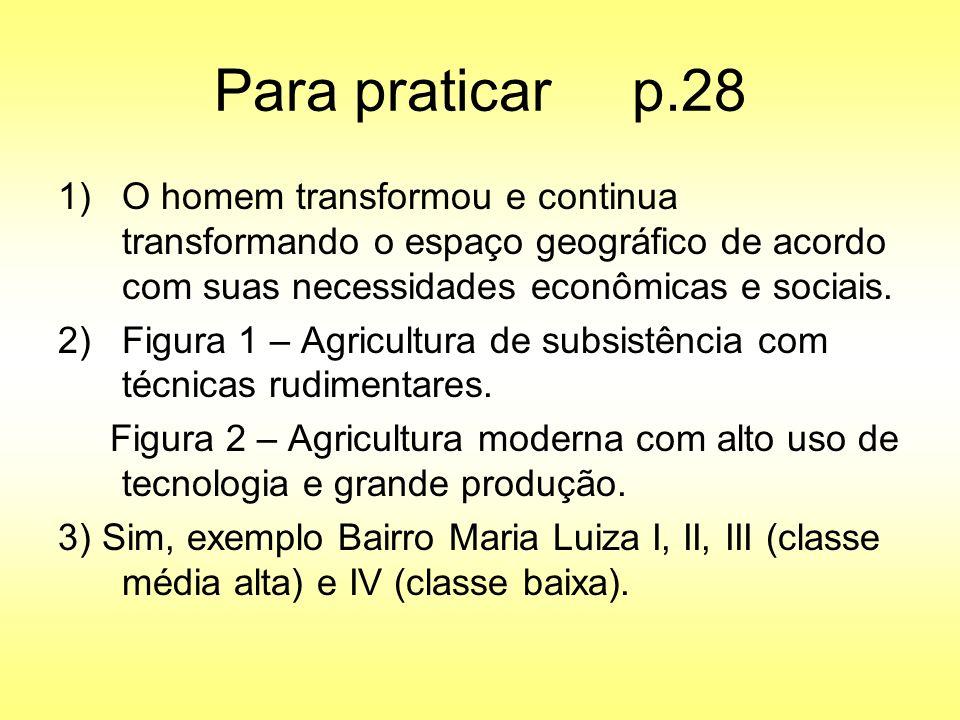 Para praticar p.28 O homem transformou e continua transformando o espaço geográfico de acordo com suas necessidades econômicas e sociais.