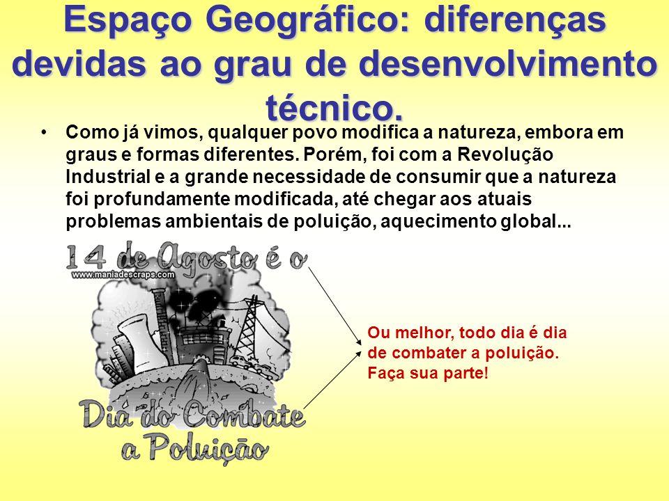Espaço Geográfico: diferenças devidas ao grau de desenvolvimento técnico.
