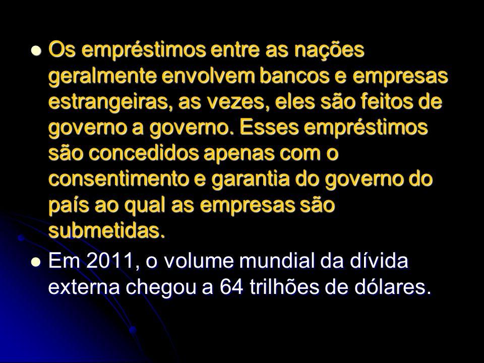Os empréstimos entre as nações geralmente envolvem bancos e empresas estrangeiras, as vezes, eles são feitos de governo a governo. Esses empréstimos são concedidos apenas com o consentimento e garantia do governo do país ao qual as empresas são submetidas.