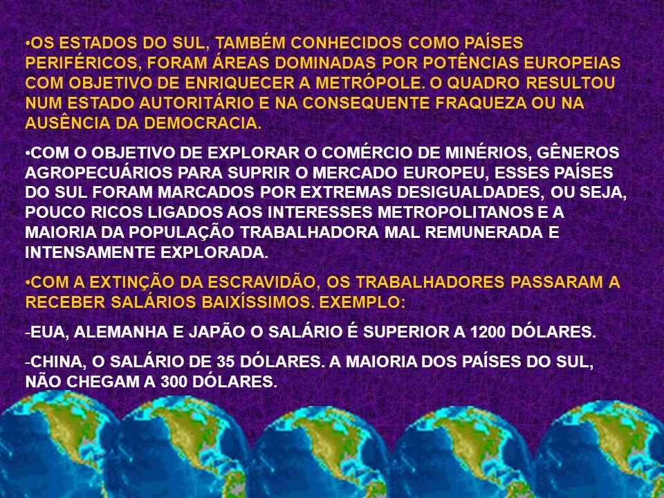 OS ESTADOS DO SUL, TAMBÉM CONHECIDOS COMO PAÍSES PERIFÉRICOS, FORAM ÁREAS DOMINADAS POR POTÊNCIAS EUROPEIAS COM OBJETIVO DE ENRIQUECER A METRÓPOLE. O QUADRO RESULTOU NUM ESTADO AUTORITÁRIO E NA CONSEQUENTE FRAQUEZA OU NA AUSÊNCIA DA DEMOCRACIA.