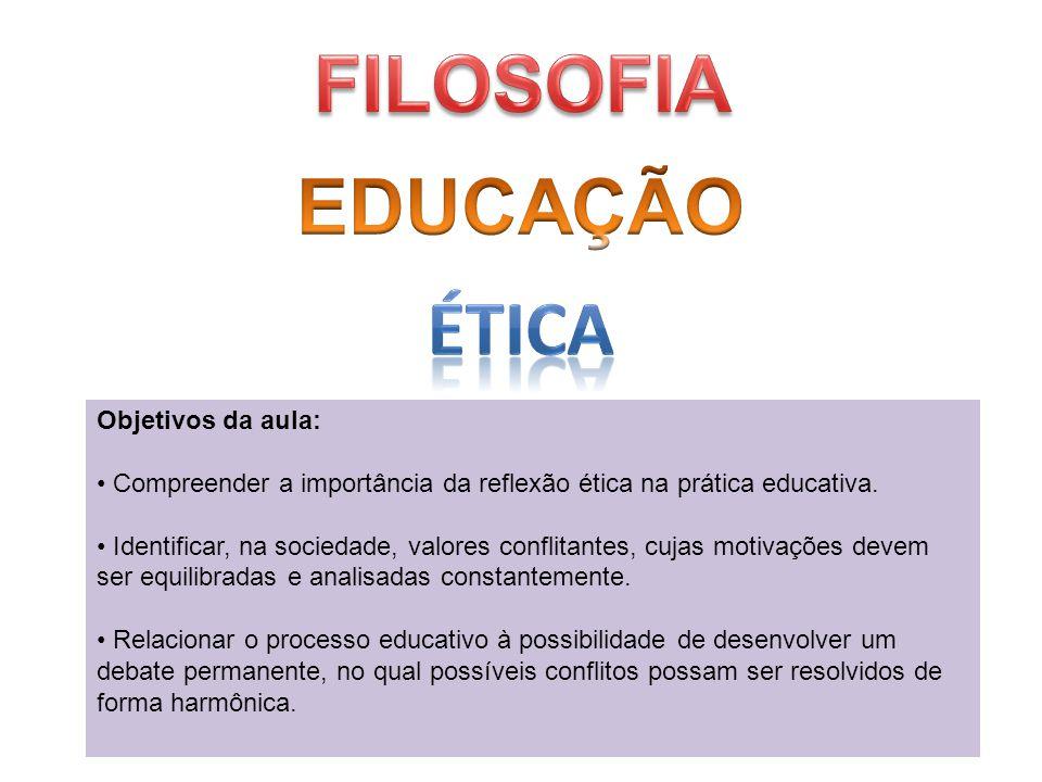 FILOSOFIA EDUCAÇÃO ÉTICA Objetivos da aula: