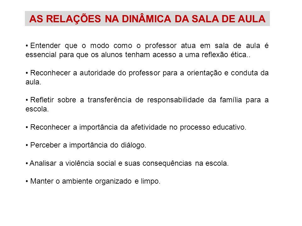 AS RELAÇÕES NA DINÂMICA DA SALA DE AULA