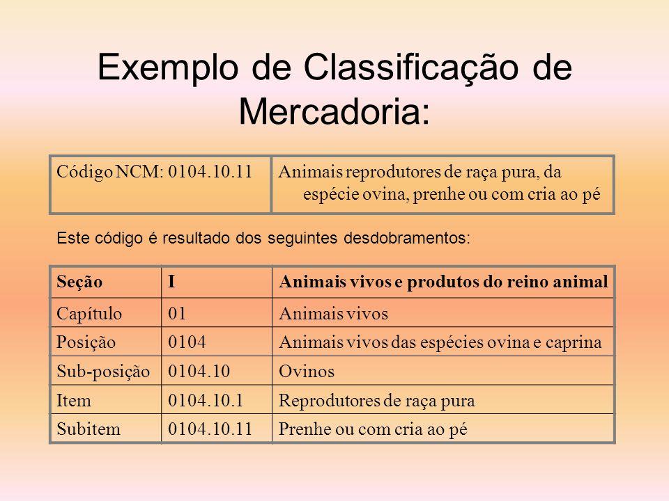 Exemplo de Classificação de Mercadoria: