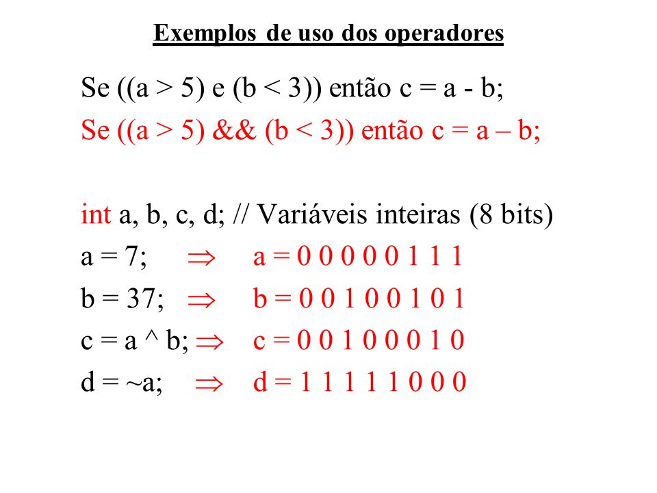Exemplos de uso dos operadores