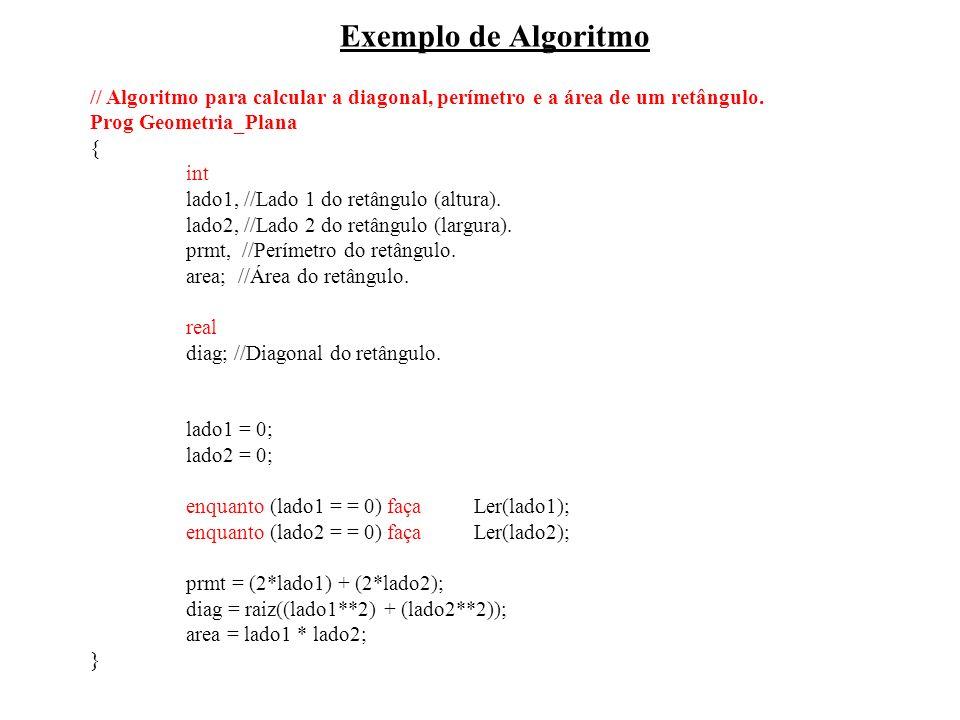 Exemplo de Algoritmo// Algoritmo para calcular a diagonal, perímetro e a área de um retângulo. Prog Geometria_Plana.