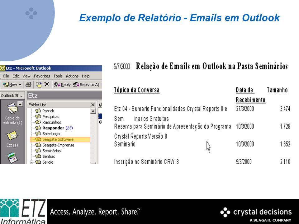 Exemplo de Relatório - Emails em Outlook
