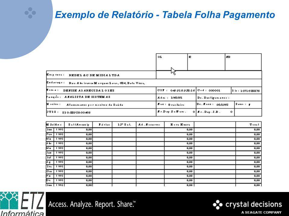 Exemplo de Relatório - Tabela Folha Pagamento