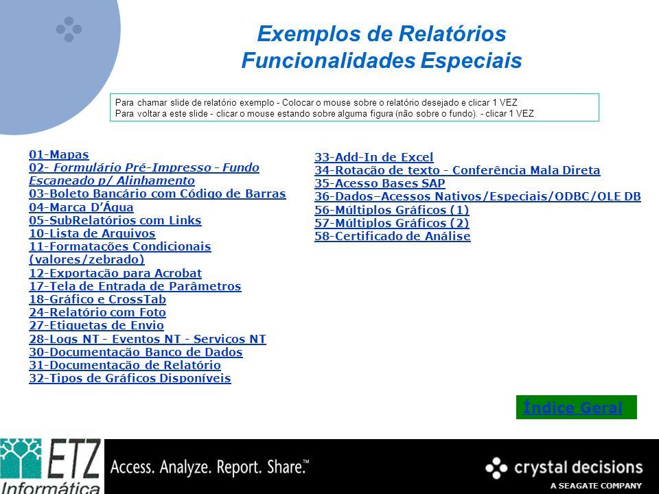 Exemplos de Relatórios Funcionalidades Especiais