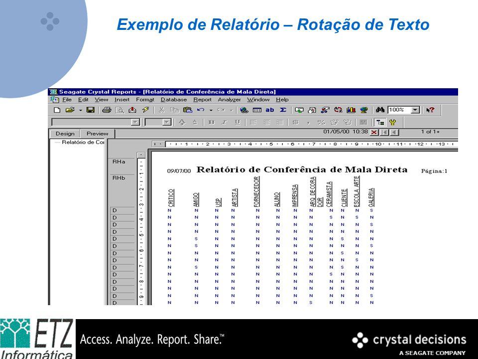 Exemplo de Relatório – Rotação de Texto