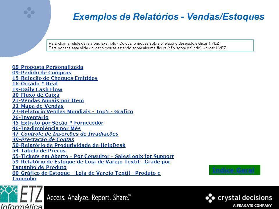 Exemplos de Relatórios - Vendas/Estoques