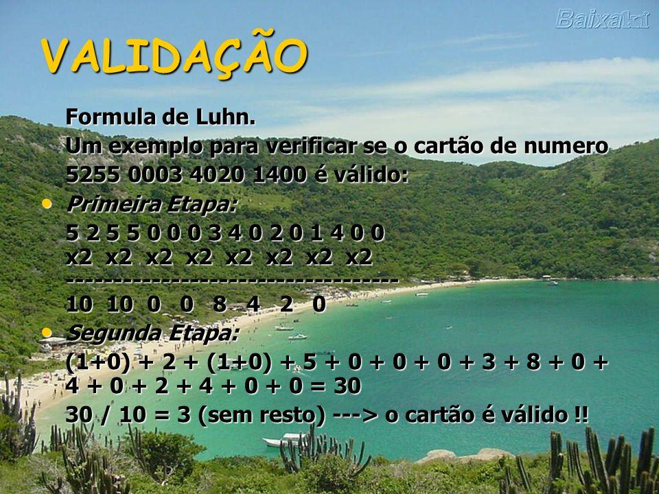 VALIDAÇÃO Formula de Luhn.