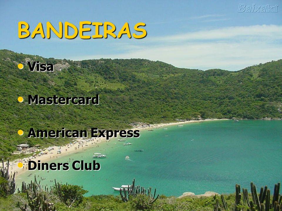 BANDEIRAS Visa Mastercard American Express Diners Club