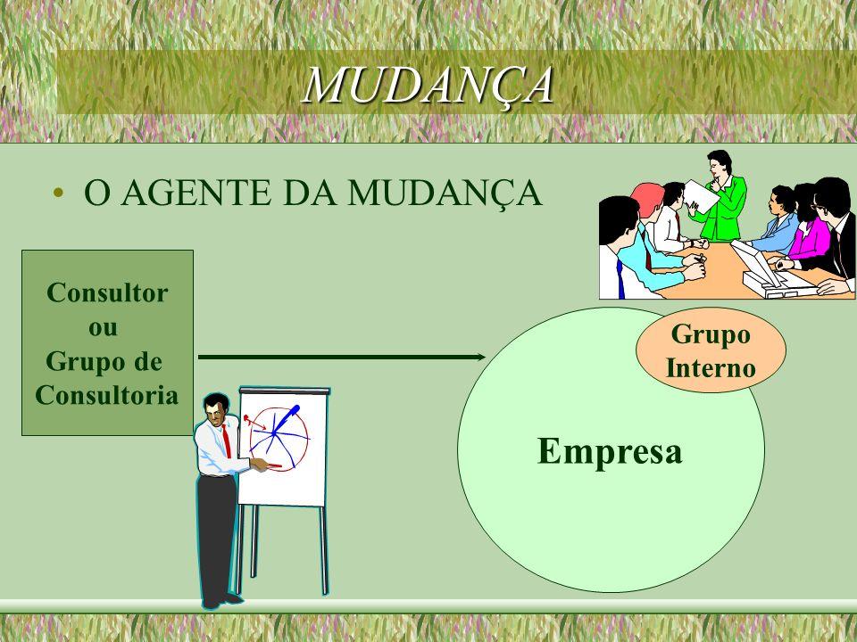 MUDANÇA O AGENTE DA MUDANÇA Empresa Consultor ou Grupo de Consultoria