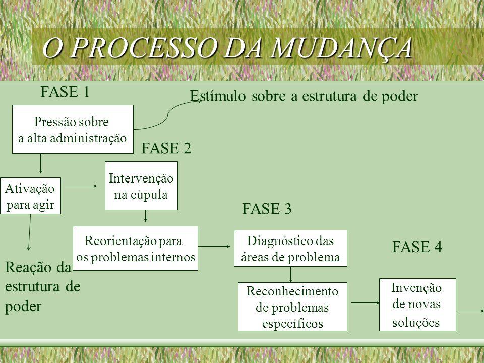 O PROCESSO DA MUDANÇA FASE 1 Estímulo sobre a estrutura de poder