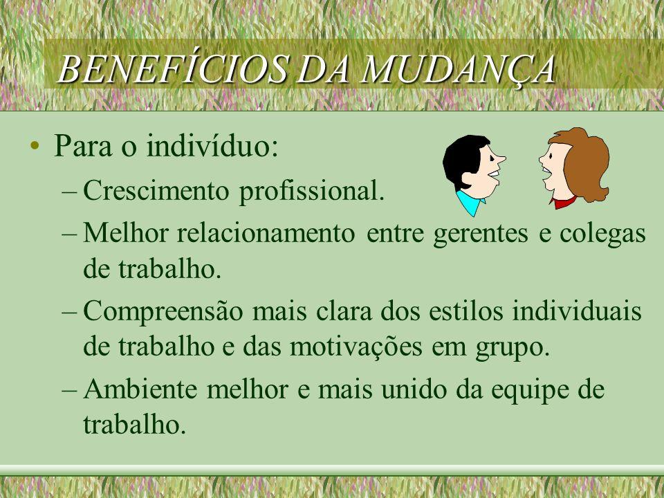 BENEFÍCIOS DA MUDANÇA Para o indivíduo: Crescimento profissional.