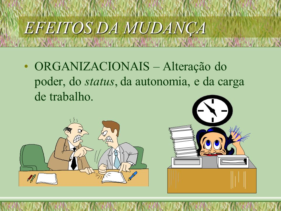 EFEITOS DA MUDANÇA ORGANIZACIONAIS – Alteração do poder, do status, da autonomia, e da carga de trabalho.