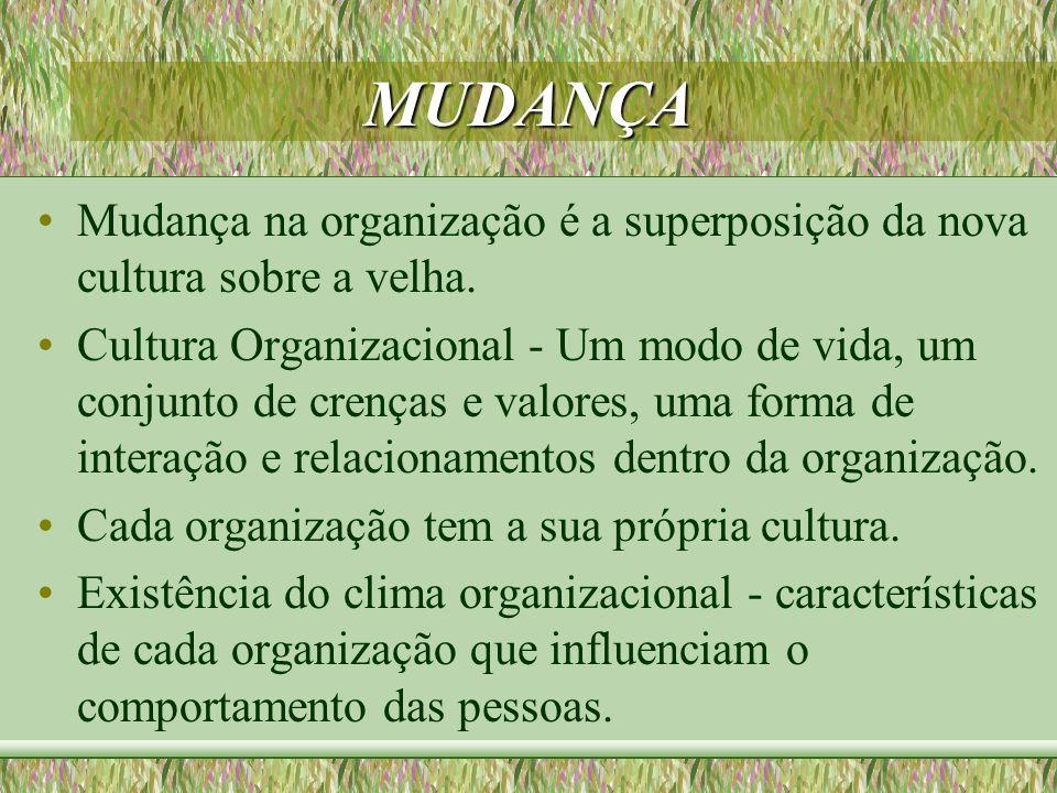 MUDANÇA Mudança na organização é a superposição da nova cultura sobre a velha.