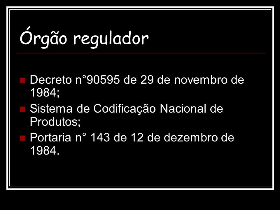 Órgão regulador Decreto n°90595 de 29 de novembro de 1984;